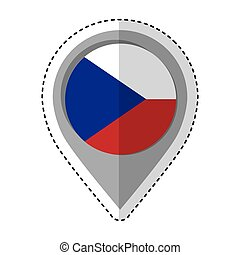 alfinete, bandeira tcheca, república, localização, ícone