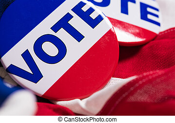 "alfinete, botão, bandeira, americano, ou, ""vote"""