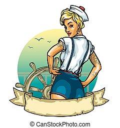 alfinete, -, cima, isolado, marinheiro, menina, etiqueta, branca