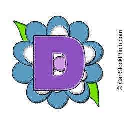alfinete, d, azul, alfabeto, flor