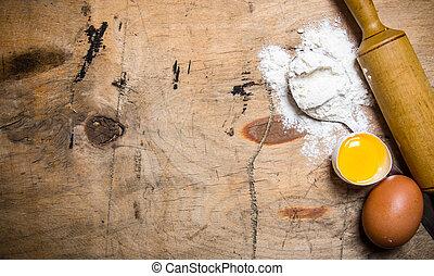 alfinete, farinha, ovos, preparação, rolando, dough.