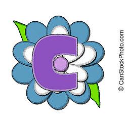 alfinete, flor, azul, c, alfabeto