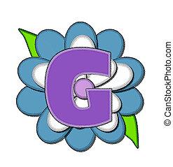 alfinete, g, azul, alfabeto, flor
