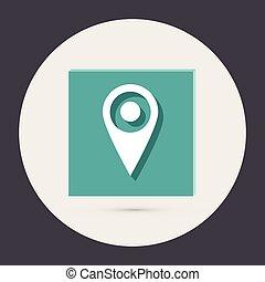 alfinete, localização, ligado, a, mapa