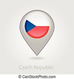 alfinete mapa, bandeira tcheca, república, ícone