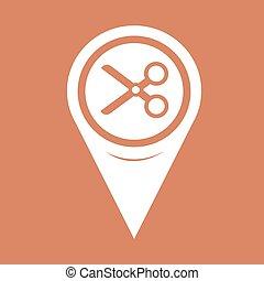 alfinete mapa, corte, tesouras, ponteiro, ícone