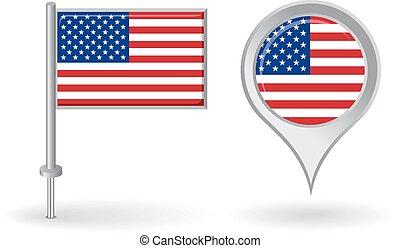 alfinete mapa, flag., americano, vetorial, ponteiro, ícone