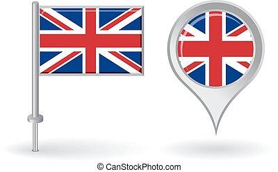 alfinete mapa, flag., britânico, vetorial, ponteiro, ícone