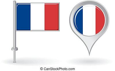 alfinete mapa, flag., francês, vetorial, ponteiro, ícone