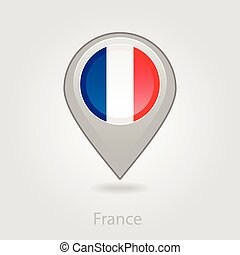 alfinete mapa, ilustração, bandeira frança, vetorial, ícone
