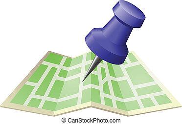 alfinete mapa, ilustração, rua, empurrão, desenho