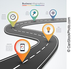 alfinete mapa, ponteiros, infographic, 5, modelo, estrada