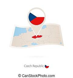 alfinete mapa, tcheco, dobrado, bandeira papel, republic., república