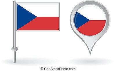 alfinete mapa, tcheco, flag., vetorial, ponteiro, ícone