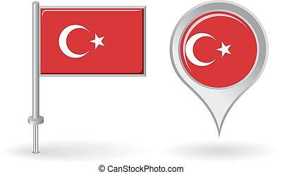 alfinete mapa, turco, flag., vetorial, ponteiro, ícone