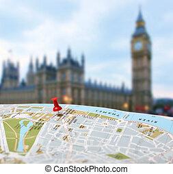 alfinete mapa, viaje destino, londres, borrão, empurrão