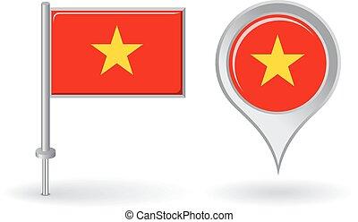 alfinete mapa, vietnamita, flag., vetorial, ponteiro, ícone