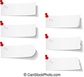 alfinetes, empurrão, branca, papeis, em branco