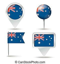 alfinetes, mapa, bandeira, austrália