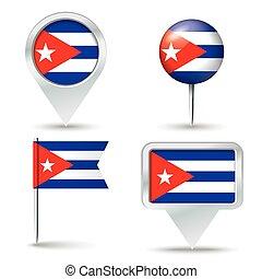 alfinetes, mapa, bandeira, cuba