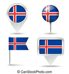 alfinetes, mapa, bandeira, islândia