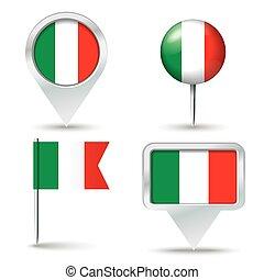 alfinetes, mapa, bandeira, itália