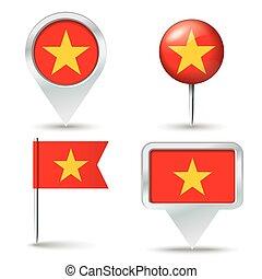 alfinetes, mapa, bandeira, vietnã