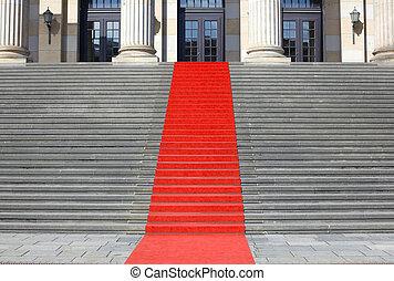 alfombra, escaleras, éxito, rojo