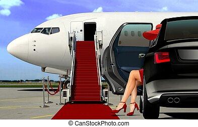alfombra, limusina, aeropuerto, llegada, rojo