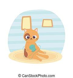alfombra, pelota, lana, caricatura, mascota, gato que sienta