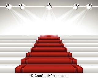 alfombra, proyectores, rojo, debajo