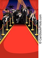 alfombra roja, y, paparazzi, plano de fondo