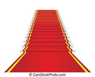 alfombra, rojo, escaleras.