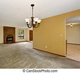 alfombra, vida, cómodo, fireplace., sin amueblar, habitación