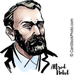 Alfred Nobel watercolor vector portrait with ink contours....