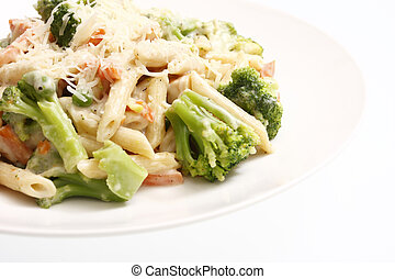 Alfredo chicken with penne pasta and vegetables.
