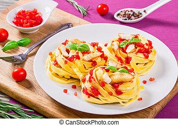 alfredo, pâtes, poulet, au-dessus, vue