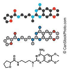 Alfuzosin benign prostate hyperplasia (BPH) drug molecule.