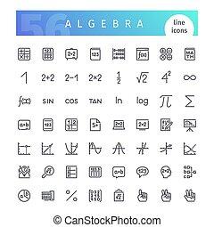 algèbre, ligne, icônes, ensemble