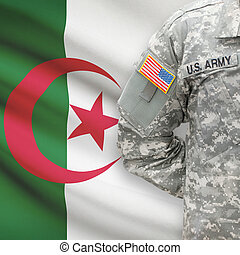 algéria, -, amerikai, katona, lobogó, háttér