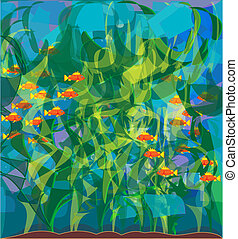 algae Laminaria - texture with the image of seaweed kelp and...