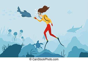 algae., lato, dolphin., fish, diver., scuba, podwodny, koral, urlop, nurkować, korale, reef., interpretacja, holidays., czynny, dziewczyna, sport, world., nurek, krajobraz