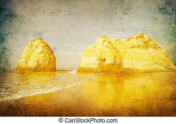 algarve , παραλία , εικόνα , grunge , πορτογαλία
