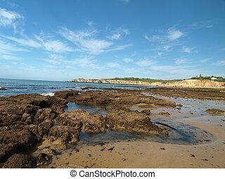 algarve, břeh, v, odliv, ta, oceán