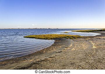 Algarve Cavacos beach twilight landscape at Ria Formosa wetlands reserve, southern Portugal.