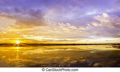 algarve, cloudscape, coucher soleil, timelapse
