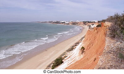Algarve - Falesia Beach Cliff - Waves in Atlantic coast of...