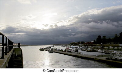 Algarve Olhao Ria Formosa - Timelapse and boat silhouette at...