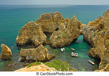 algarve, partvonal, portugália
