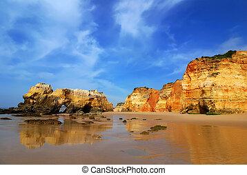 Algarve, Portugal - Praia da Rocha is the beach and built up...